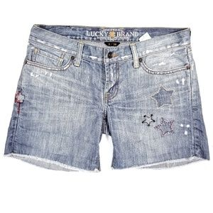 Lucky Brand Star Embroidered Riley Cut Off Shorts